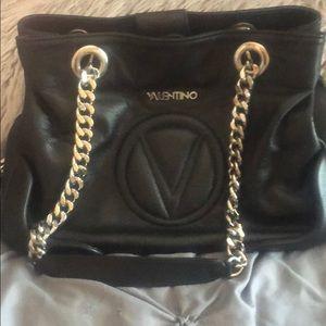 Valentino black leather chain hamdbag